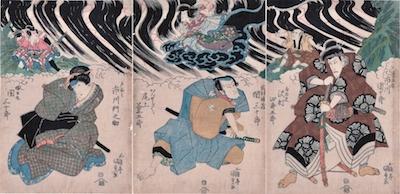 Kunisada, Bando Mitsugoro III as Kan Shojo in Sugawara Denju Tenarai Kagami