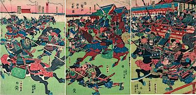 Kunisada, Battle Between the Minamoto and the Taira at Taiken Gate