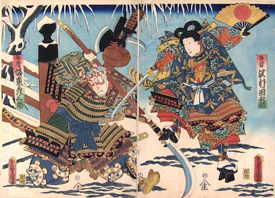 Kunisada, Fight on Gojo Bridge in the Snow