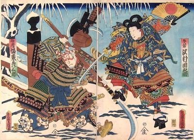 Kunisada, Fight on Gojo Bridge in the Snow