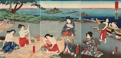 Kunisada, Genji on the Beach at Ise Watching Awabe Divers