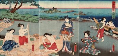 Kunisada, Genji on the Beach at Ise Watching Awabe Divers