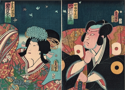 Kunisada, Iwai Kumesaburo III and Kataoka Nizaemon VIII in Hachijin Shugo no Honjo