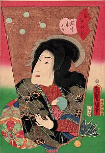 Kunisada, Hagoita of Bando Shuka as Kijin no Omatsu