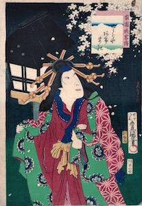 Kunisada, Heroic Commoners in Kabuki - Iwai Hanshiro as Miuraya Agemaki