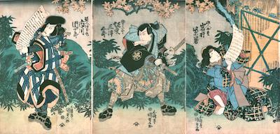 Kunisada, Iwai Hanshiro V in a scene from Yamatogana Heike Monogatari