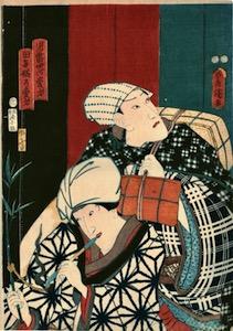 Kunisada, Ichikawa Danjuro VIII as Jiraiya and Iwai Kumesaburo III as Tagoto-hime
