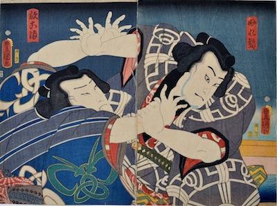 Kunisada, Nakamura Shikan IV as Nuragami and Ichikawa Ichizo III as Hanaregoma