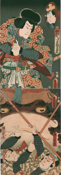Kunisada, Ichikawa Ichizo III as Tenjiku Tokubei with Toad