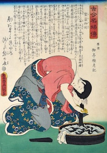 Kunisada, Loyal Women of All Time - Kesa Gozen Washing