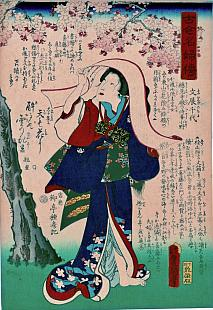 Kunisada, Legends of Women of All Ages - Portrait of Chiyo-ni