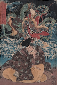 Kunisada, Lord Hojo Tokimasa Dreaming Benzeiten
