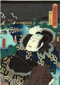 Kunisada, Nakamura Utaemon IV as Higuchi no Jiro Kanemitsu Masquerading as the Boatman Matsuemon