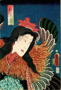 Kunisada, The Sanbaso Dance Performed by Nakamura Shikan IV