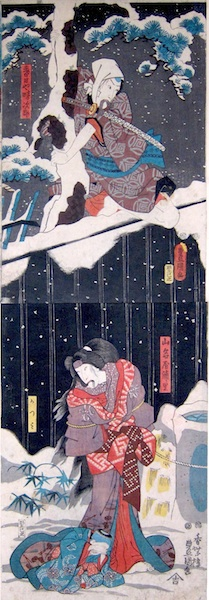 Kunisada, Snow at Yoshiwara - Urazato