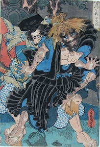 Kunisada, A Mirror of our Country's Renowned Heroes - Taira no Tadamori and the Oil Thief
