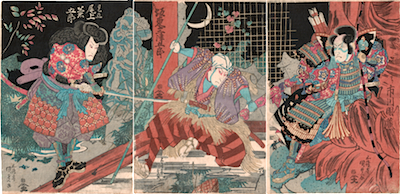 Kunisada, Onoe Kikugoro IV, Bando Mitzugoro and Ichikawa Danzo in Tokaido Yotsuya Kaidan