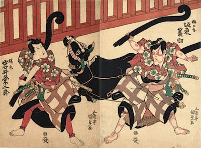 Kunisada, Bando Mitsugo as Umeomaru in Sugawara Denju Tenarai Kagami