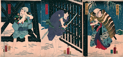 Kunisada, Iwai Kumesaburo III and Ichikawa Kodanji IV  in Sannin Kichiza Kuruwa no Hatsugai