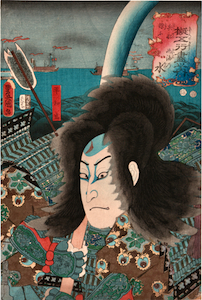 Kunisada, Examples of the 5 Elements, Water - Sawamura Chojuro V as Taira no Tadamori