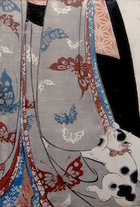 Kunisada, Woman with Cat - kakemono-e