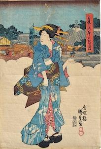 Kunisada, Woman with Bonsai