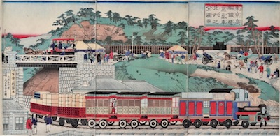 Kuniteru II, View of the Steam Engine at Tanakawa, Tokyo