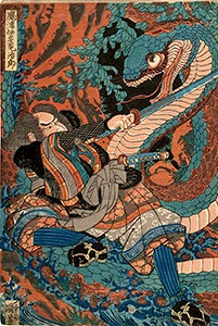 Kuniyoshi, Matsui Tamijiro fighting a giant snake