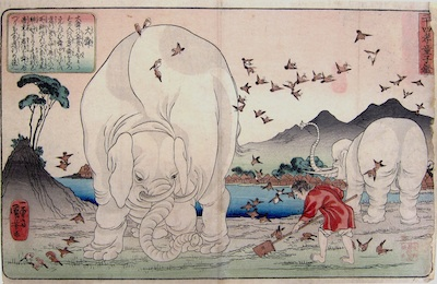 Kuniyoshi, 24 Paragons of Filial Piety - Taishun Tending the Fields Assisted by Elephants
