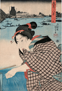 Kuniyoshi, 8 Views of Night Visits to Temples and Shrines - Hitotsume