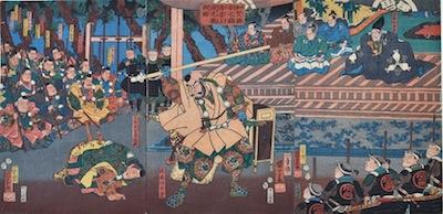 Kuniyoshi, Ataka Barrier in Kaga Province, Benkei Strikes Yoshitsune