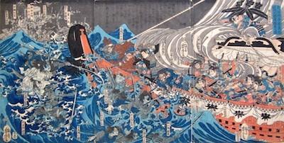 Kuniyoshi, The Ghosts of the Taira Clan Attacking Yoshitsune's Ship in Daimotsu Bay in 1185