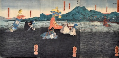 Kuniyoshi, Kagesue, Takatsuna and Shigetada Crossing the Uji River