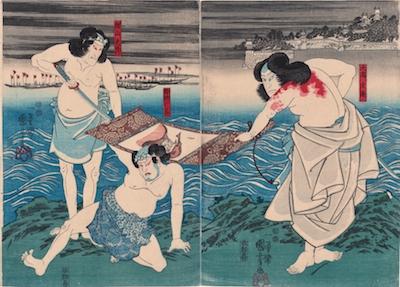 Kuniyoshi, Nakamura Tsuruzo and Seki Sanjuro in Takagi Oriemon Budo Jitsu Roku