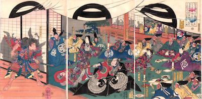 Kuniyoshi, Soga Goro outside the Shoji of Yoshimori