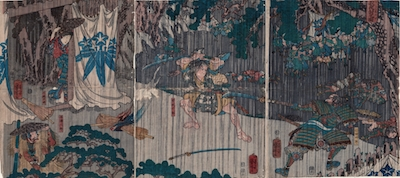 Kuniyoshi, Soga Juro fighting with Nitta Shiro Tadatsune in Pouring Rain