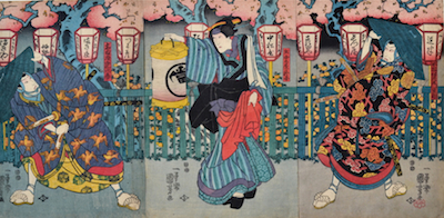 Kuniyoshi, Three Actors Performing Date Kurabe Uwasa no Sayaate