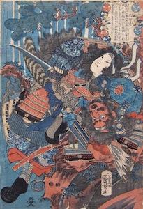 Kuniyoshi, Tomoye-gozen struggling with Musashi Saburoemon Arikuni