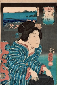 Kuniyoshi, Celebrated Treasures of Land and Sea - Shrimp from Ise