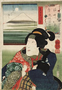 Kuniyoshi, Set of Views of Fuji from Edo in Iroha Order - Urami Kuzunoha