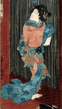 Kuniyoshi, Virtuous Women for the Eight Views - Night Rain at the Hunting Ground