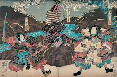 Kuniyoshi, A Scene from Ichinotani Mushae no Iezuto