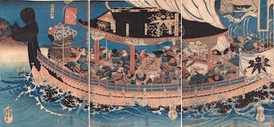 Kuniyoshi, Yoshitsune and His Nineteen Loyal Retainers