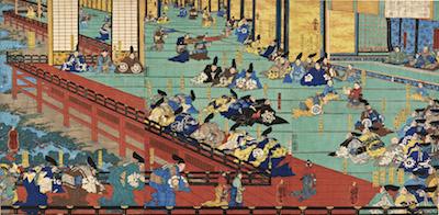 Kuniyoshi, Minamoto no Yoshitsune's First Visit to Fujiwara's Hidehira