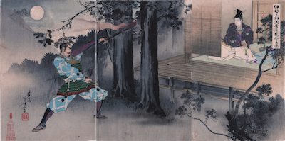 Toshikata, Ise Saburo Encountering Minamoto no Yoshitsune by Moonlight