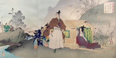 Toshikata, Kusunoki Masatsura and his Mother Escaping the Field of Battle