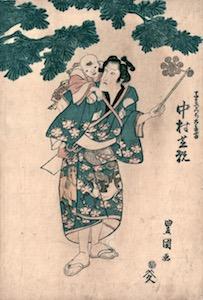 Toyokuni I, Nakamura Utaemon IV as the Nursemaid Komori
