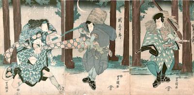 Toyokuni I, Bando Mitsugoro and Seki Sanjuro in Fuwa Banzaemon