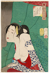 Yoshitoshi, Thirty-Two Aspects of Customs and Manners, Looking itchy - The Appearance of a Kept Woman of the Kansei Era (1789-1801) Number 16.
