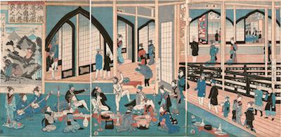 Yoshikazu, Foreigners Enjoying Themselves in the Gankiro Teahouse